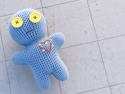 Pins sticking in voodoo doll, 3d rendering - AHUF000160