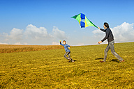 Father with son flying kite in meadow - MAEF011642