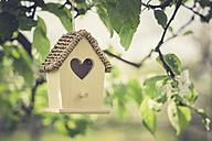 Birdhouse hanging on apple tree - ASCF000588