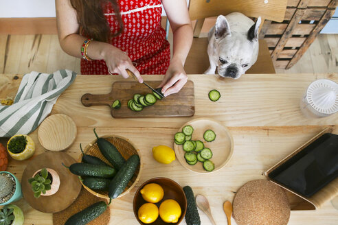 French bulldog watching woman cutting cucumber on table - RTBF000202