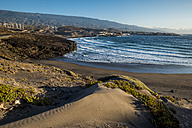 Spain, Tenerife, beach and wind park in the background - SIPF000495