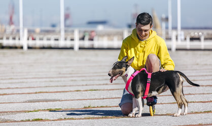 Inline-skater with his bull terrier - MGOF001836