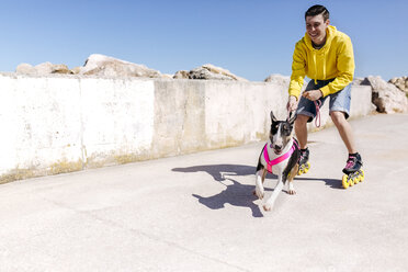 Inline-skater with his bull terrier - MGOF001845