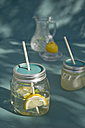 Upcycling of old jam jars, Lemonade and drinking straw - GISF000215