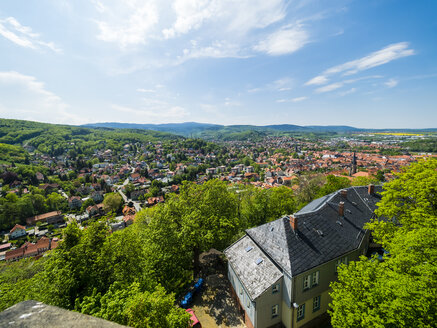 Germany, Saxony-Anhalt, Wernigerode, old town, view from Wernigerode Castle - AM004890