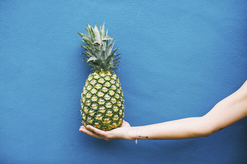 Woman holding pineapple at blue wall - EBSF001379