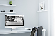 Minimalist workspace, studio for designer or creative professional, 3D Rendering - JPSF000002