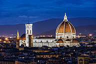 Italy, Tuscany, Florence, Santa Maria del Fiore and Campanile di Giotto at night - CSTF001091