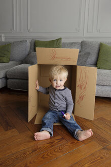 Smiling toddler sitting in a cardboard box at home - LITF000339