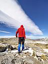 Spain, Sierra de Gredos, man hiking in mountains - LAF001629