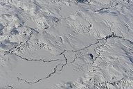 Iceland, aerial view, river and snow, landscape - FDF000163