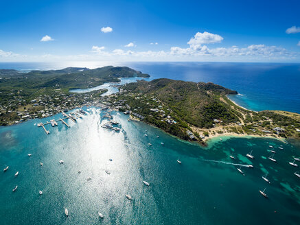 West Indies, Antigua and Barbuda, Antigua, aerial view, English Harbour and Windward Bay - AMF004914