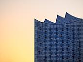 Germany, Hamburg, Elbphilharmonie at sunset, partial view - KRPF001749