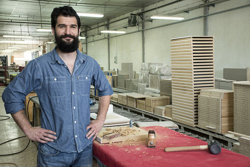 Portrait of carpenter smiling in a factory - ABZF000593