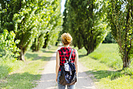 Back view of woman with backpack in nature - GIOF001130
