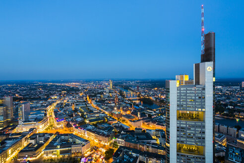 Germany, Frankfurt, view to the lighted city from above - TAM000484