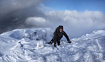 Scotland, Glencoe, Stob Coire Nan Lochain, mountaineering in winter - ALRF000493