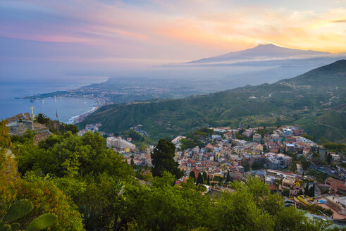 Italy, Sicily, Taormina with Mount Etna at sunset - RJF000591