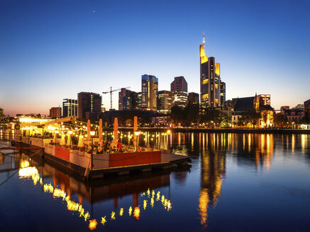 Germany, Frankfurt, skyline with platform on River Main in the evening - PUF000524