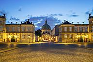 Denmark, Copenhagen, lighted Amalienborg Castle - PU000527