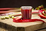 Glass of homemade strawberry rhubarb jam - LVF004895