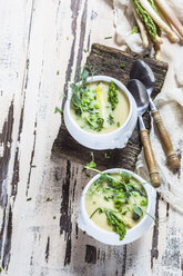 Cream of white asparagus soup garnished with white and green asparagus spears, pea shots and chives - SBDF002936