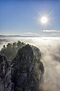 Germany, Saxony, Elbe Sandstone Mountains, Neurathen Castle in the morning fog at backlight - RUEF001711