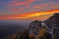 Czechia, Bohemian Switzerland, Elbe Sandstone Mountains, view to Pravcicka brana by sunset - RUEF001714