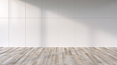 Shadows on the wall of an empty room with wooden floor, 3D Rendering - UWF000901