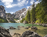 Italy, South Tyrol, Dolomites, Fanes-Sennes-Prags Nature Park, Lake Prags with Seekofel - STSF001012