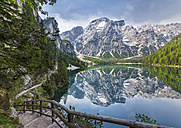 Italy, South Tyrol, Dolomites, Fanes-Sennes-Prags Nature Park, Lake Prags with Seekofel - STSF001015