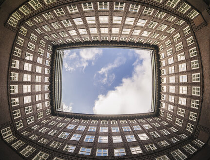 Germany, Hamburg, courtyard of Chile house seen from below - KRP001754