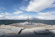 Iceland, Reykjavik, Island, Reykjavik, modern sculpture formed like a viking boat - ASC000614