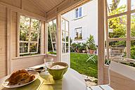 Breakfast table in a garden shed - WDF003605