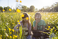 Brother and sister sitting together on field of flowers playing guitar and blowing blowball - SARF002741