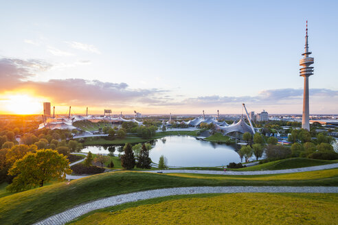 Germany, Munich, Olympic Park with stadium and television tower at twilight - WDF003621