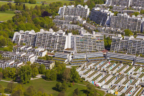 Germany, Munich, view to high-rise residential buildings and Olympic Village - WDF003627