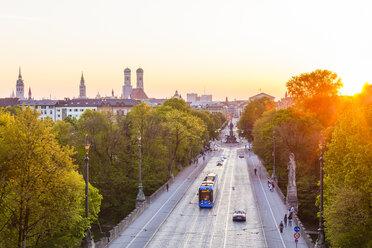 Germany, Munich, view to Maximilianstrasse at twilight - WDF003642