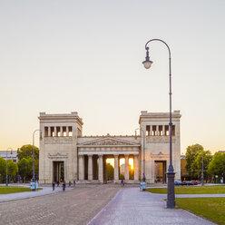 Germany, Munich, view to Propylaea at Koenigsplatz by sunset - WDF003651