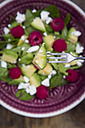 Avocado on fork with avocado raspberry salad in background - LVF004941
