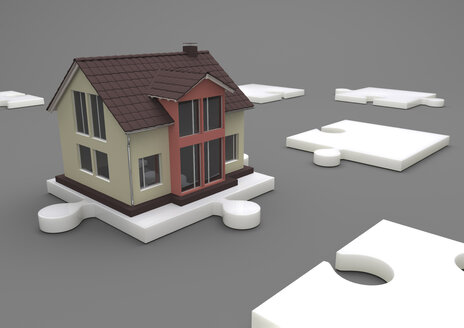 Illustration House on the white puzzle, 3d-Rendering - ALF000692