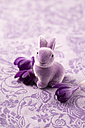 Easter decoration with purple Easter bunny and blossoms of crocus - MYF001502