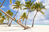 Dominican Rebublic, Young woman relaxing on palm tree looking out over tropical beach - HSIF000476