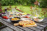 Variety of Mediterranean antipasti on garden table - SARF002760