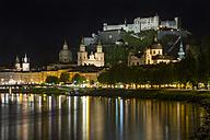 Austria, Salzburg, Hohensalzburg Castle at night - YR000108