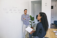Young businessman and woman preparing meeting in office - EBSF001436