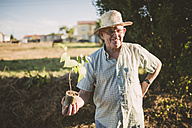 Portrait of smiling farmer with straw hat holding a plant in his hands - RAEF001216
