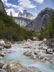 Italy, Alto Adige, Sexten Dolomites, Rienz Valley, Tre Cime di Lavaredo, Black Rienz river, Nature park Tre Cime - STSF001039