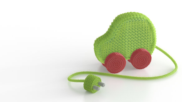 3D Rendering, green knitted car with plug - AHUF000174