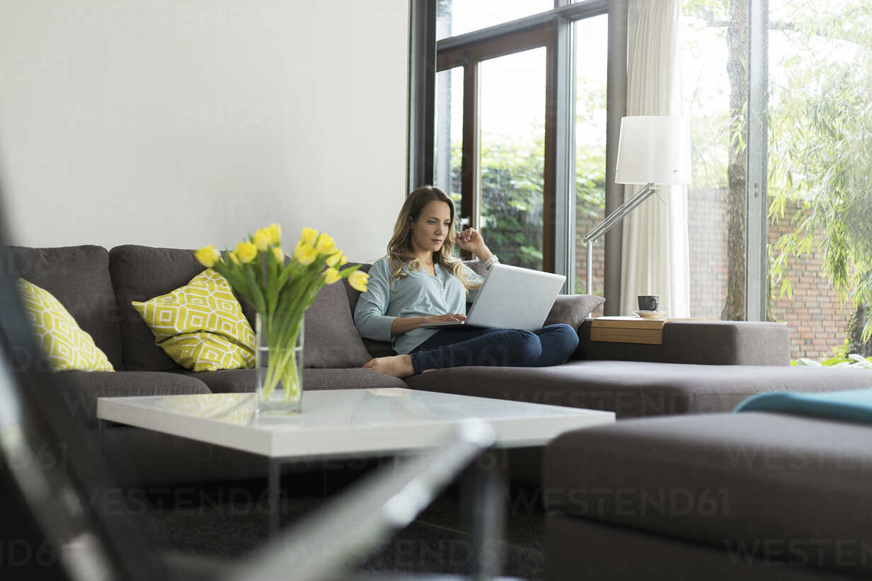Woman at home sitting on couch using laptop - SBOF000091 - Steve Brookland/Westend61